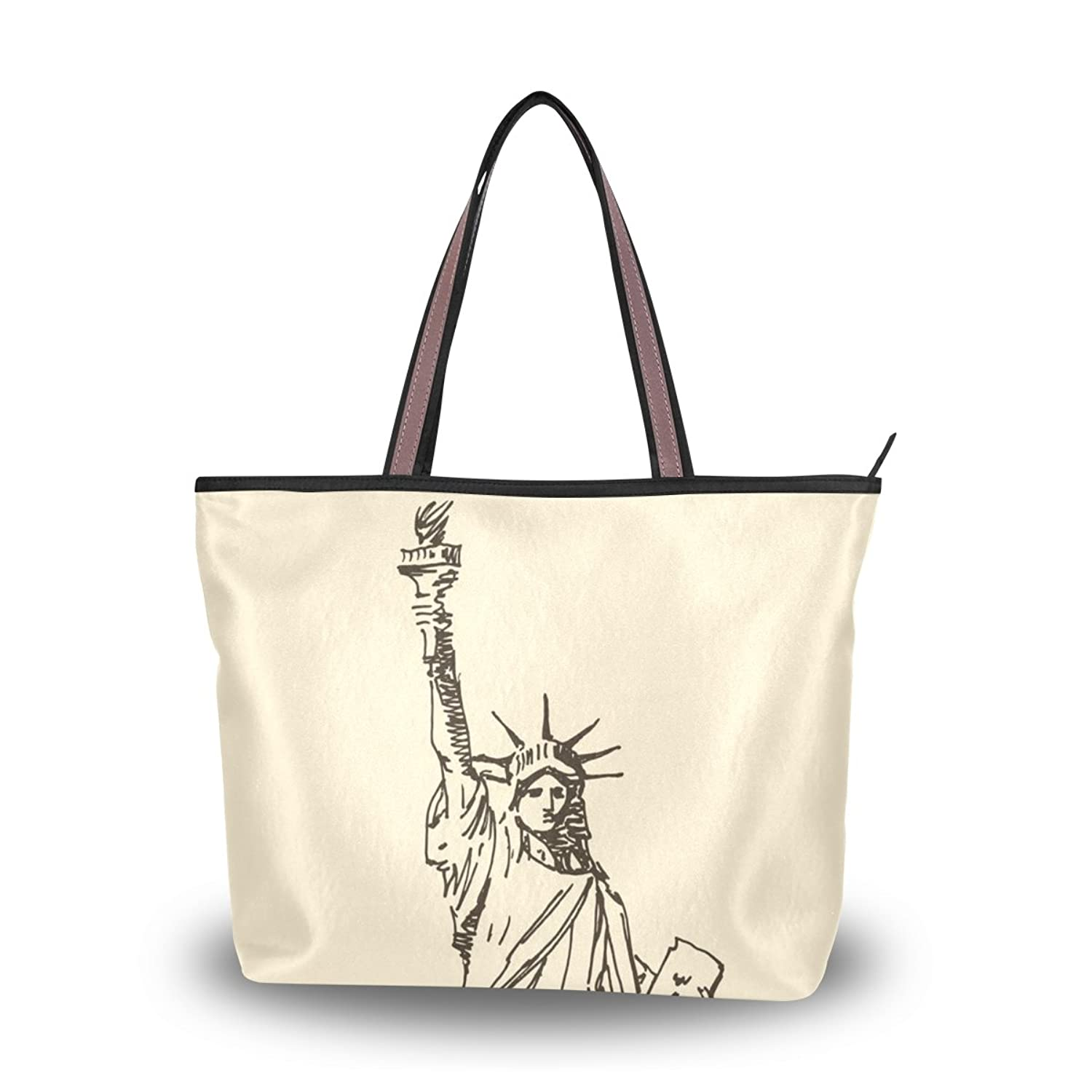 Senya Women's Handbag Microfiber Large Tote Shoulder Bag, Statue Of Liberty