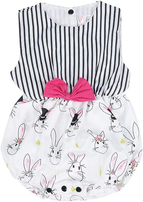 Niñas Bebés Vestido Del Mono De Los Niños Lindo Conejo Impresión ...
