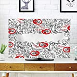 iPrint LCD TV dust Cover Customizable,Red and Black,Minimalist Home Decor Themed Sketchy Birds Swirls and Apple Shapes,Scarlet and White,Graph Customization Design Compatible 55'' TV
