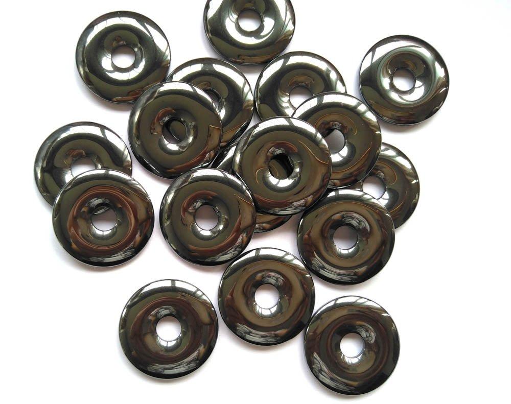 AA+ 12pcs 30mm Hematite Donut, Silver Gray Hematite Gemstone Pi Donut Focal Pendant Hemaite jewelry