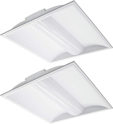 DLC Certified 2 Pack ASD Ceiling Light Edge Lit Flat Panel 2x2 LED Light Drop Ceiling 27W Troffer Light Dimmable Lights 3500K Warm White LED Emergency Lights with Battery Backup Commercial Lights UL