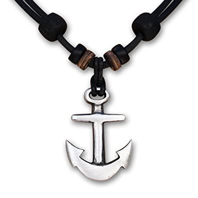 e0ccf0692f HANA LIMA ® Halskette Anker Lederkette Surferhalskette Herrenhalskette  Herrenkette Surferkette Damenkette