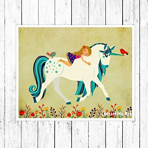 Unicorn Print Childrens Nursery Wall Art Nursery Decor Fantasy Art Unicorn Art Print Toddler Gift Illustration gift for kids - Unicorn Wall Art - Archival Print