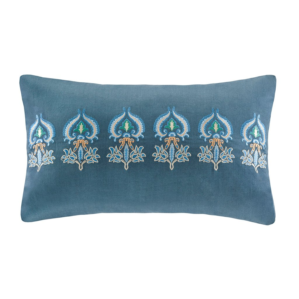 Harbor House Belcourt Oblong Pillow, 12 by 20-Inch, Blue