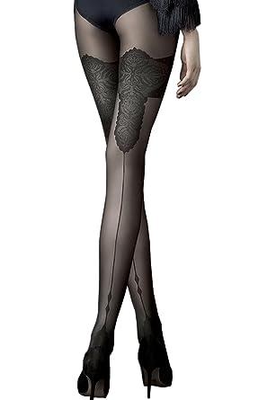 Fiore Collant femme sexy chic illusion bas avec couture 40 den (3 ... 05ed018220d