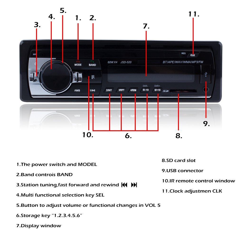 Bluetooth Car Audio Stereo 1 Din In Dash 12v Fm Head Unit Wiring Diagram Http Wwwben9166com 2011 01 Headunit Electronics