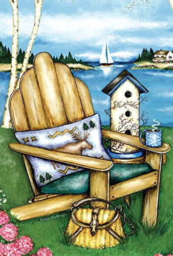Toland Home Garden Adirondack Bay 28 x 40 Inch Decorative Lake Vacation Outdoors Sailboat House Flag