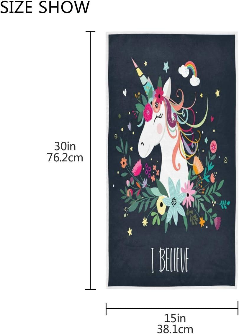 Mnsruu Serviette de Bain Motif Licorne et Fleurs Douce 76 x 38 cm Style Vintage