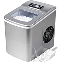 Tavata Countertop Portable Ice Maker Machine with Self-clean Function, 9 Ice Cubes ready in 8 Minutes,Makes 26 lbs of Ice per 24 hours,with LCD Display (Silver)
