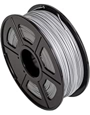 CC DIY PLA 3D Printer Filament Dimensional Accuracy +/- 0.02 mm 1kg Spool 1.75 mm Suits Most 3D Printers Tevo Tarantuala CR10 Mendel Prusa and More, Also Suitable for Most 3D pens (Silver)