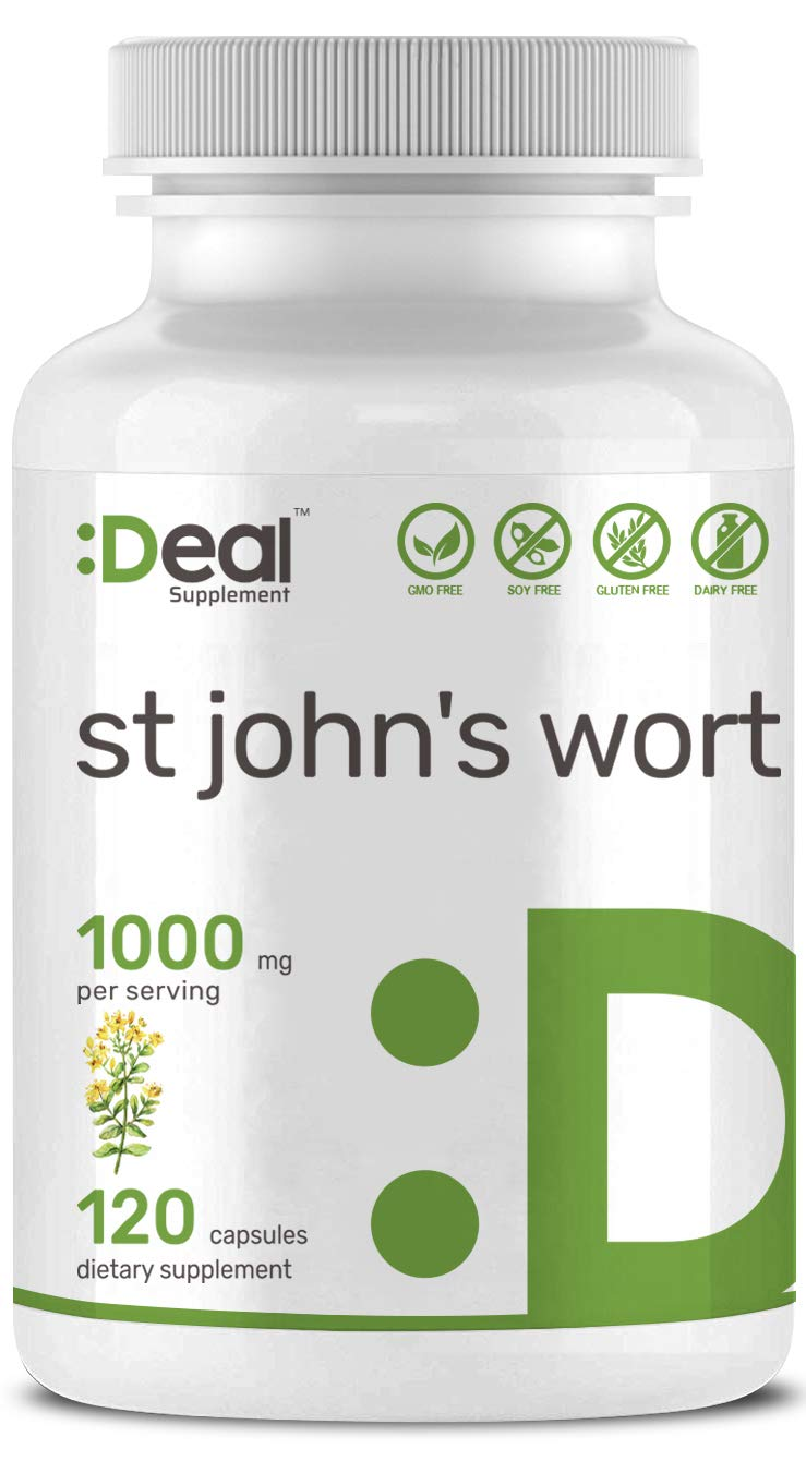 Deal Supplement St John's Wort 1000mg /Serving, 120 Capsules, Non-GMO, Made in USA