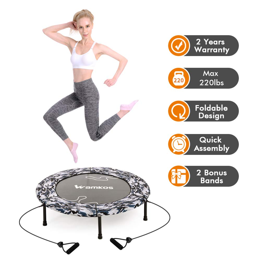 Wamkos 40'' Blue Camo Foldable Trampoline with 1 Pair Resistance Bands for Sports & Fitness Indoor or Outdoor