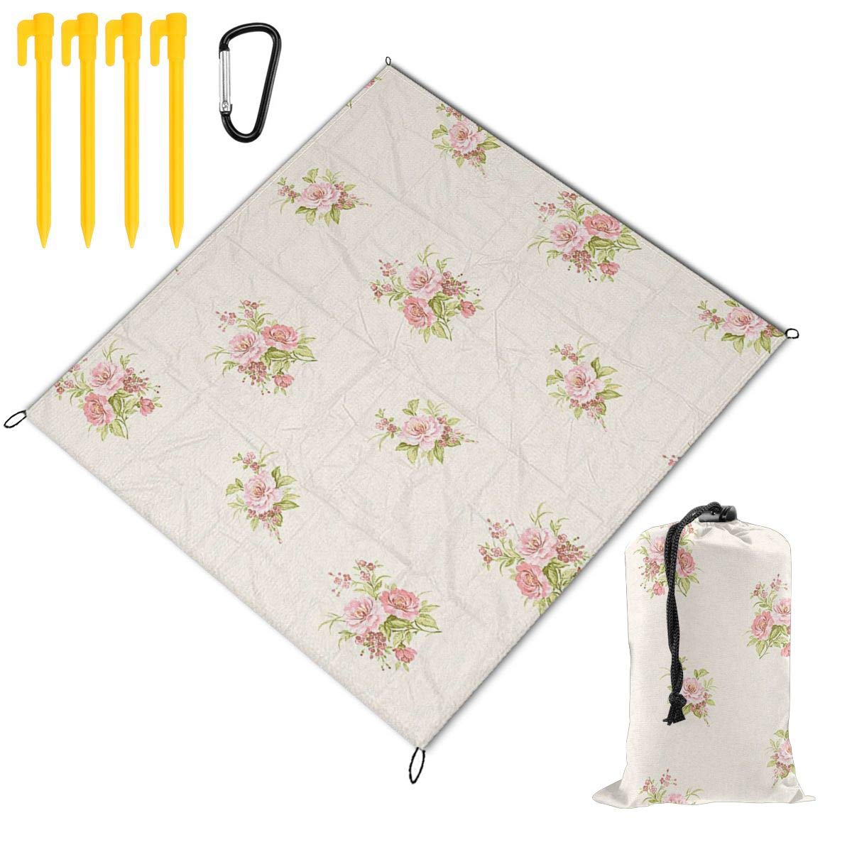 FunnyCustom Picnic Blanket Portable Waterproof Vintage Floral Picnic Mat for Beach Camping 67 x 57 Inch