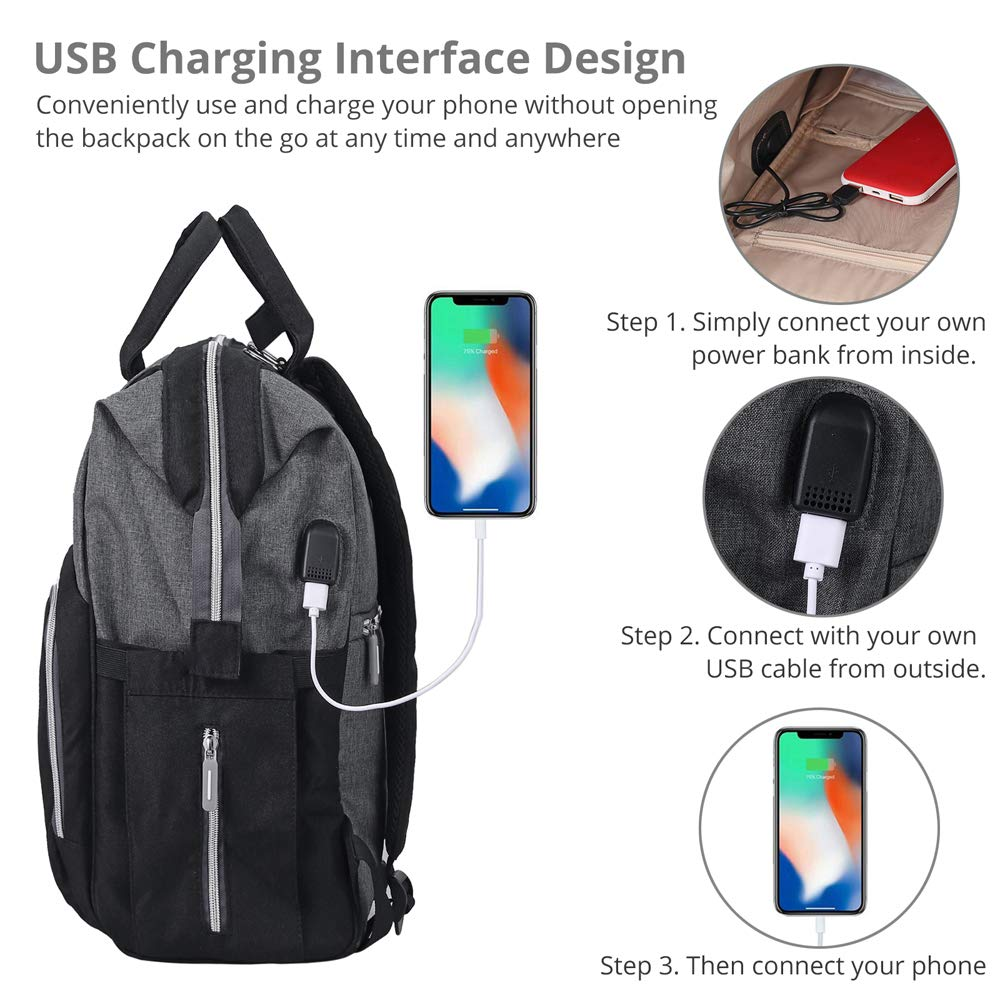 Tanice Baby Changing Bag with USB Port Large Baby Bag Multi-functional Waterproof Travel Backpack 2 Stroller Straps and Changing Pad for Mom /& Dad Come with Insulated Pockets