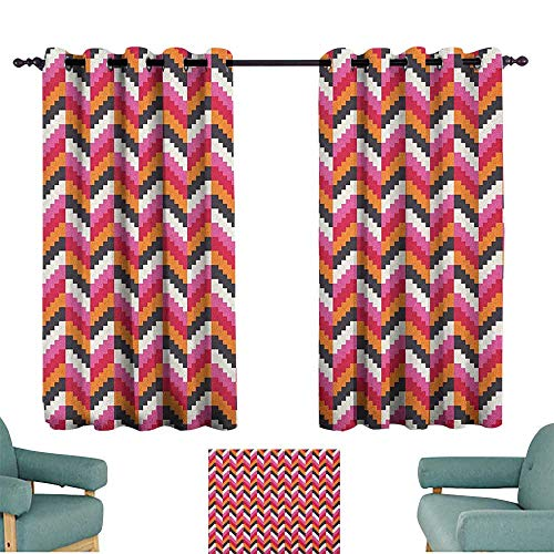 Stripes Nickel Three Light - Geometric,Kids Decor Curtain Pixel Art Style Stripes Three Dimensional Pattern Colorful Herringbone Design 52