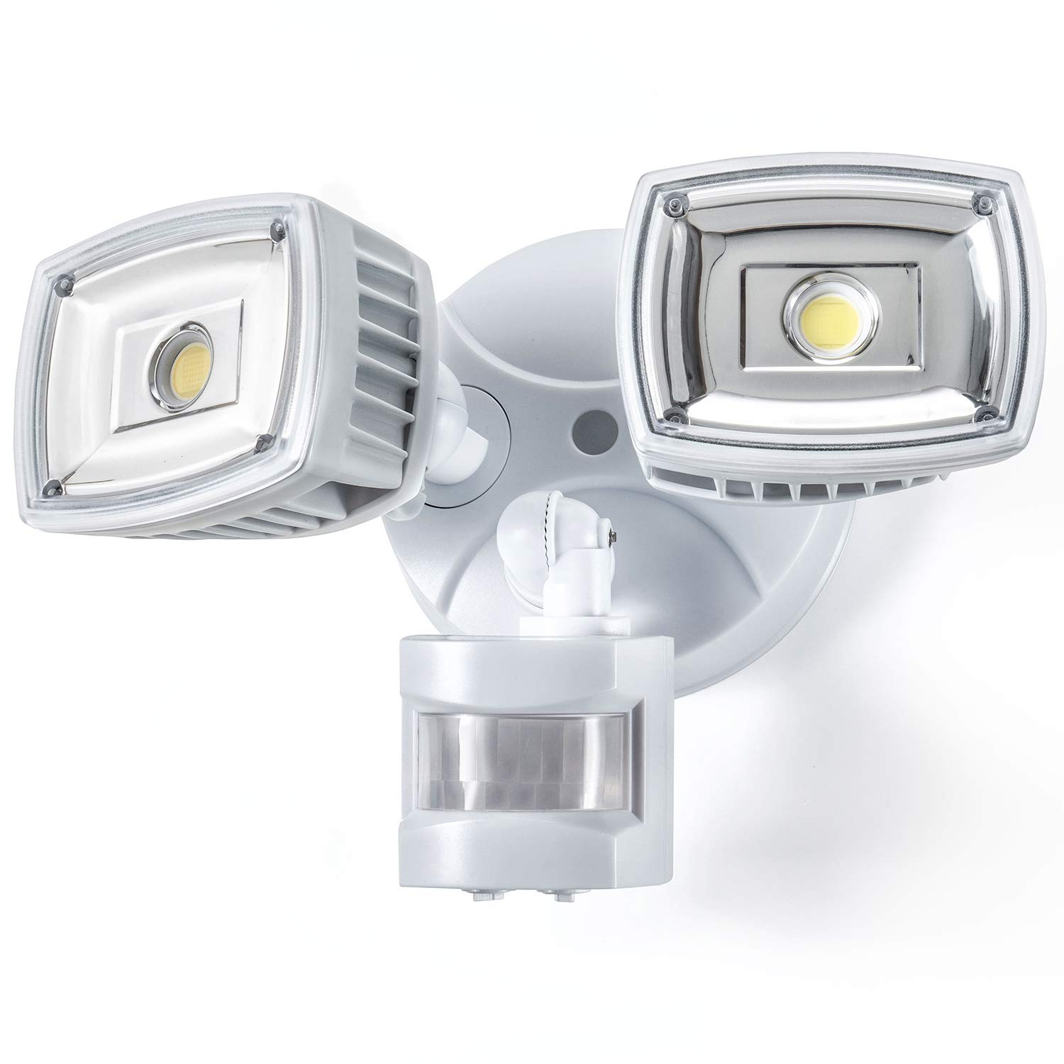 Home Zone ES00730V Security LED Motion Sensor Flood Lights, Outdoor Weatherproof Ultra Bright 5000K, White