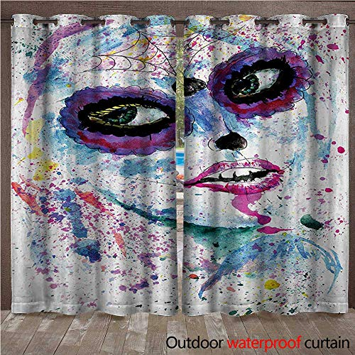 WilliamsDecor Girls Outdoor Balcony Privacy Curtain Grunge Halloween Lady with Sugar Skull Make Up Creepy Dead Face Gothic Woman Artsy W72 x L84(183cm x 214cm)