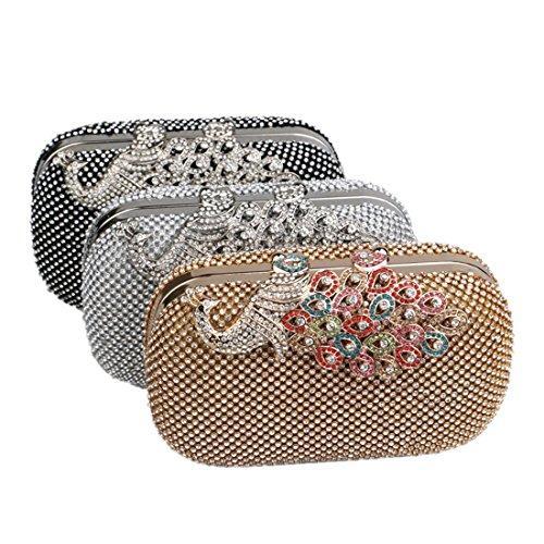 da diamanti Borsa sera cerimonia da nero Argento da per borsa borsa sera moda sera di da Vola pavone di Colore tempestata Borsa signore xnA0XCpqw
