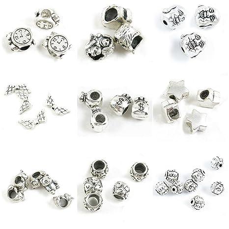 39 piezas de cuentas de plata envejecida para hacer joyas ...
