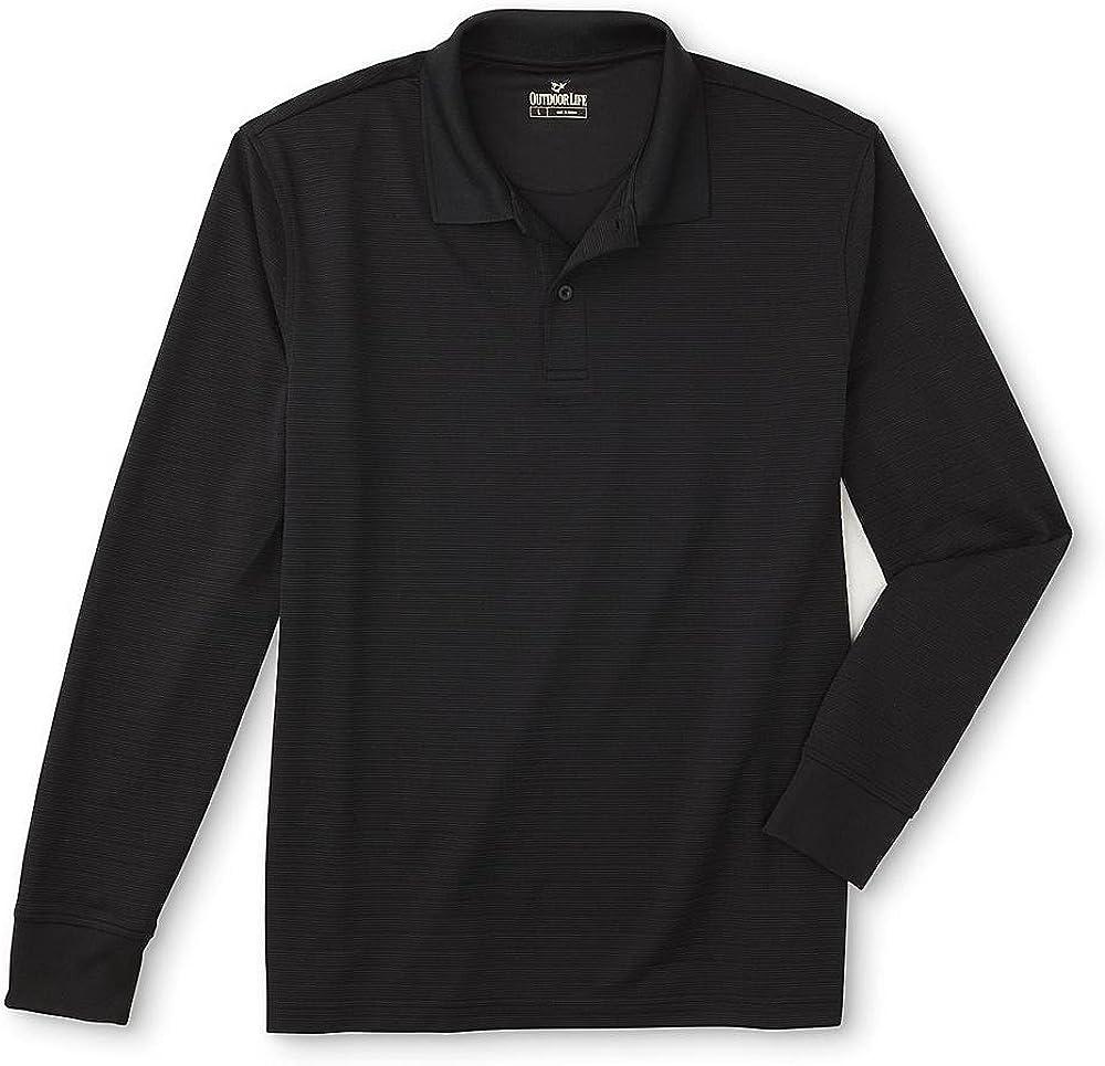 Outdoor Life Mens Long-Sleeve Polo Shirt Striped Size Medium