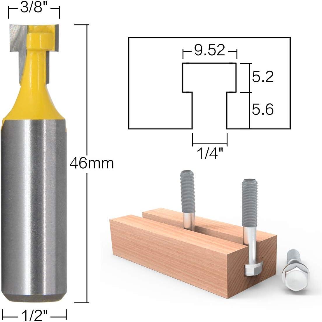 2 piezas RKURCK 1//2Cortador de ranuras en T Ranura Fresa Manija de acero Brocas de 3//8 and 1//2de longitud para herramientas el/éctricas