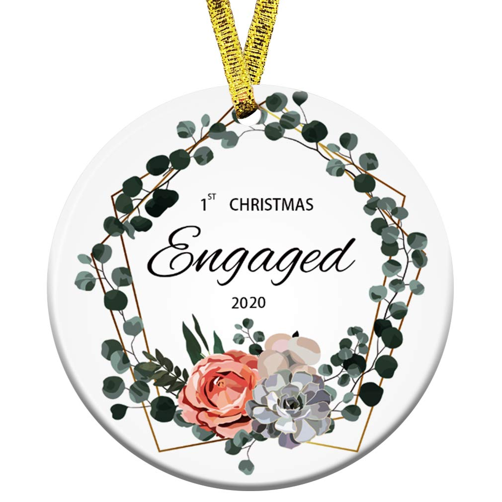 Buy Kooer 2020 Engaged Engagement Ornament Rustic Farmhouse Christmas Decor Engagement Married Newlyweds 3 Circle Porcelain Ceramic Ornament 1st Christmas Engaged Online At Low Prices In India Amazon In