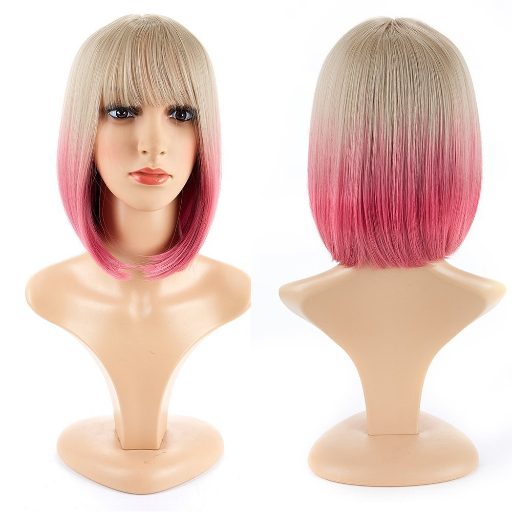 H&N Hair Short Bob Wigs With Bangs 13'' Straight Synthetic Colorful Cosplay Wig Ombre Pink