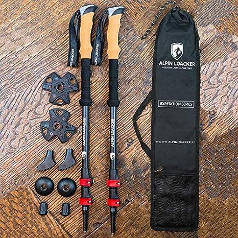 de Material de Carbono Resistente e irrompible Alpin Loacker Pro Series Bastones de Senderismo Plegables y telesc/ópicos con Mango de Corcho Incluye Accesorios