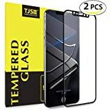 TJS (2 Pack iPhone X 3D Full Coverage Tempered Glass, [PET Frame][Edge to Edge Crash Protection] Curved [Scratch Proof][Bubble Free] Tempered Glass Screen Protector Film For Apple iPhone X - Black
