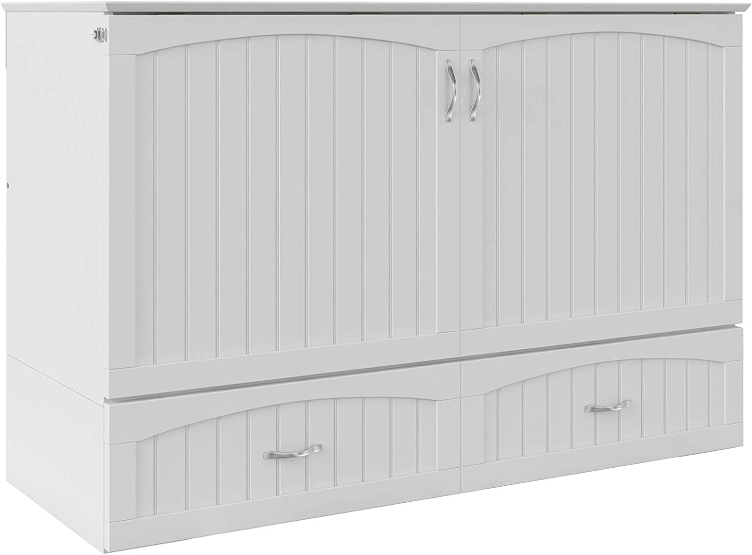 Atlantic Furniture Southampton Murphy Bed Chest with Charging Station & Mattress, Queen, White
