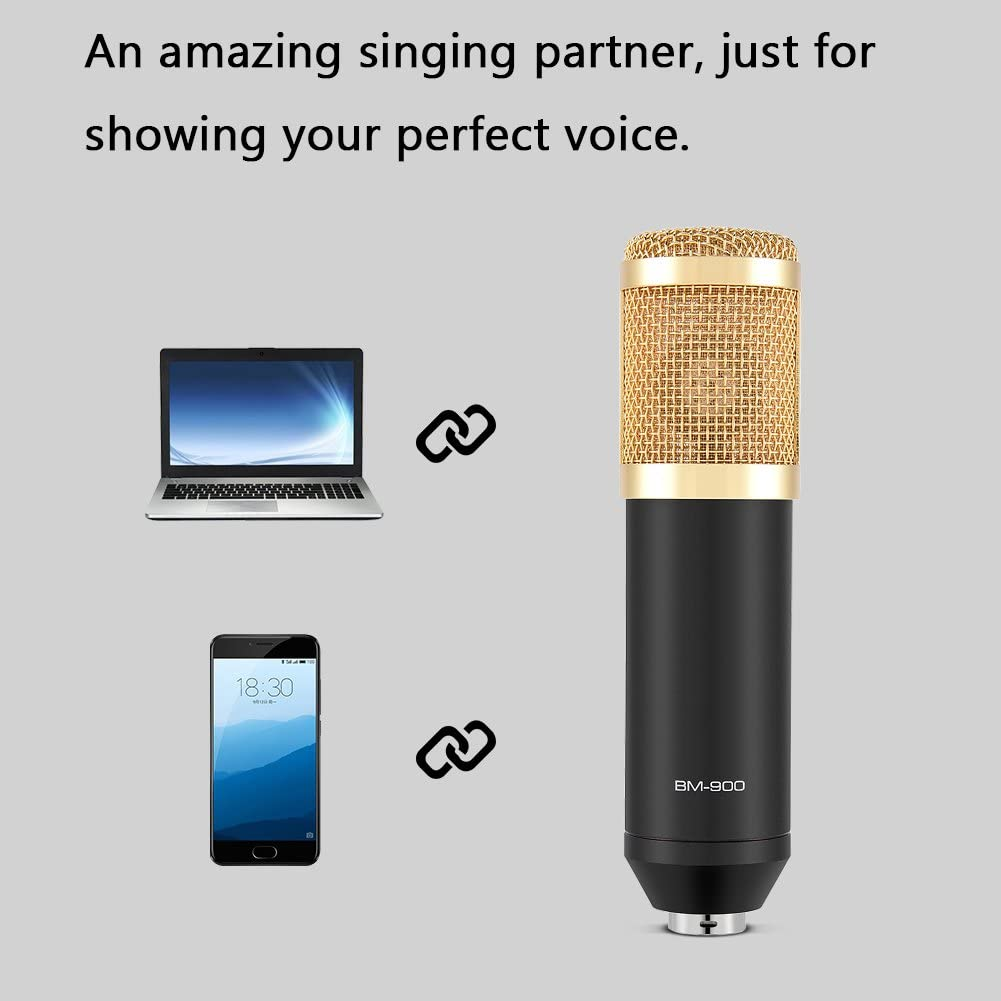 Professional Studio Broadcasting Microphone Set wtih Shock Mount Noise Canceling Microphone Sound for Studio Recording /& Brocasting BM-900 Cardioid Condenser Microphone
