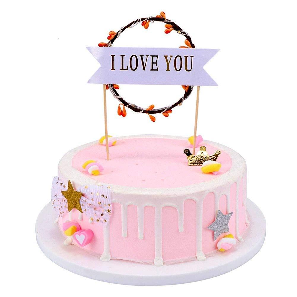 Peachy Cherishx Led Cake Topper I Love You Cake Decoration For Birthday Funny Birthday Cards Online Hetedamsfinfo