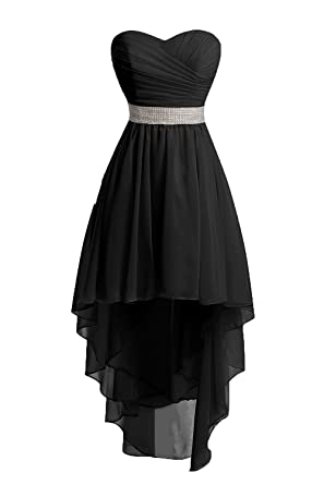Victoria Prom Women High Low Lace Up Prom Party Homecoming Dresses Black us2