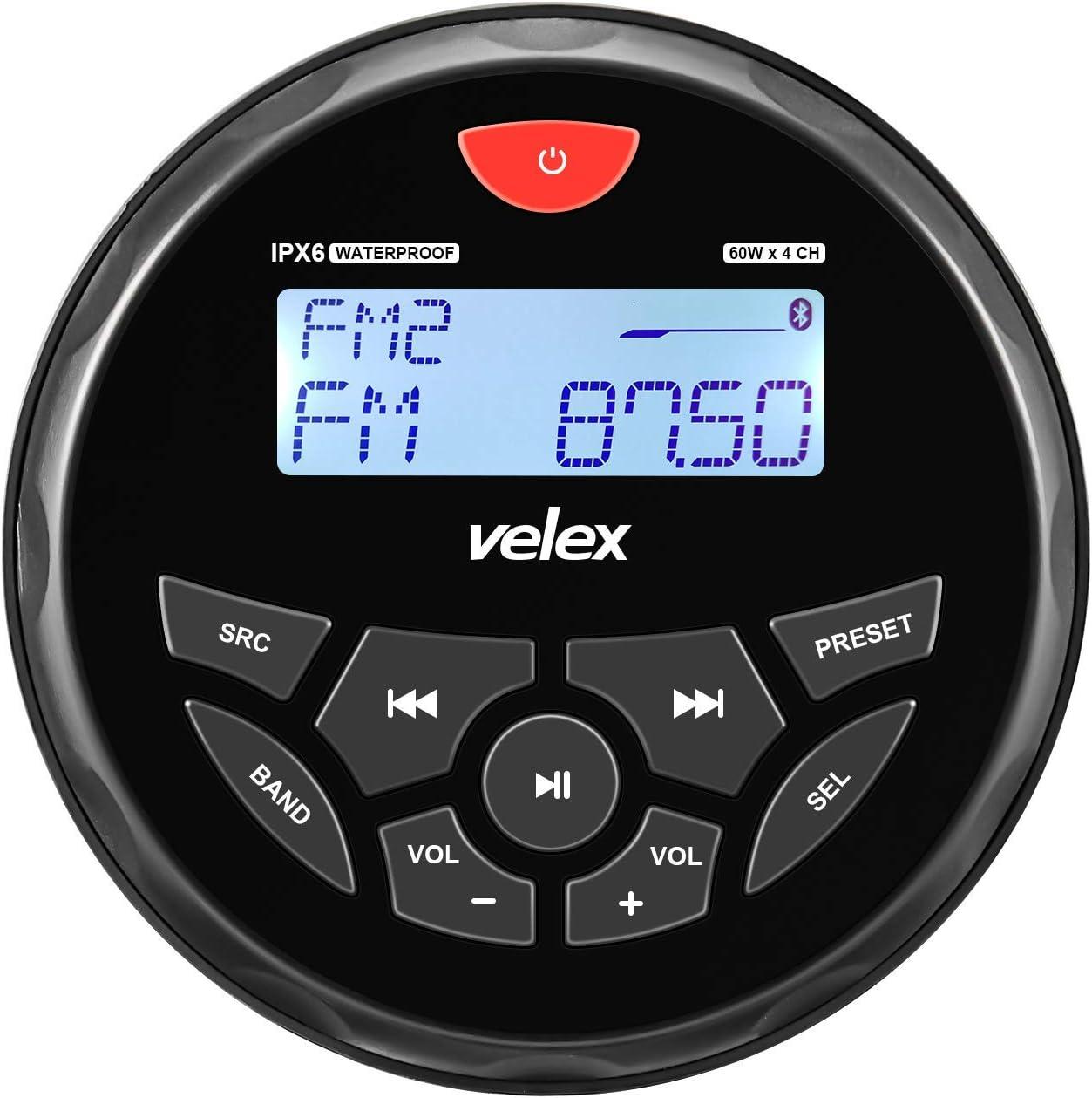 Boat Bluetooth Marine Stereo Radio Boat Radio AM FM Tuner Bluetooth Streaming Music Digital Media on Boats Golf Cart ATV UTV and Spa Hot Tubs