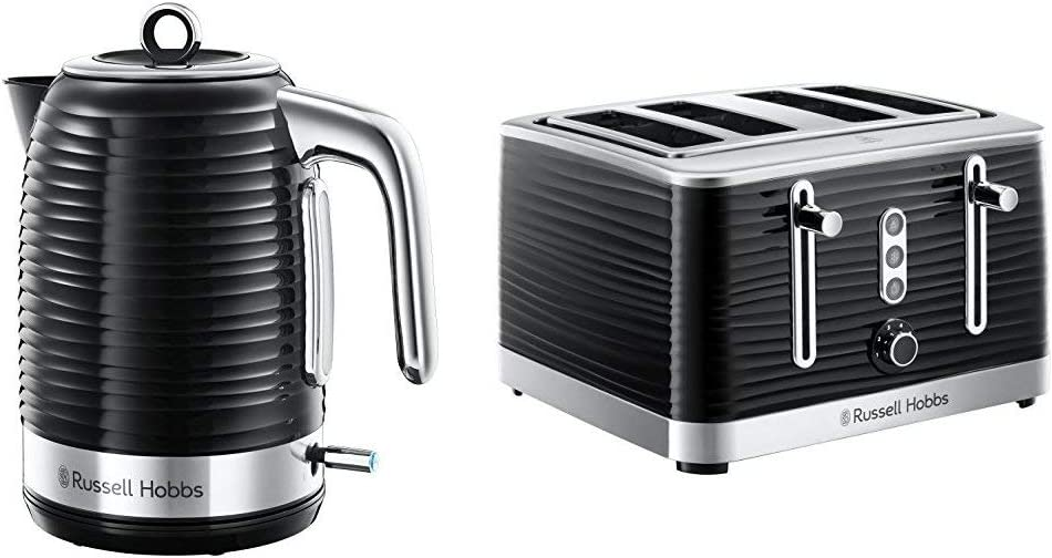 Russell Hobbs 24361 Inspire Electric Kettle, 3000 W, 1.7 Litre, Black with Chrome Accents with 4 Slice Toaster