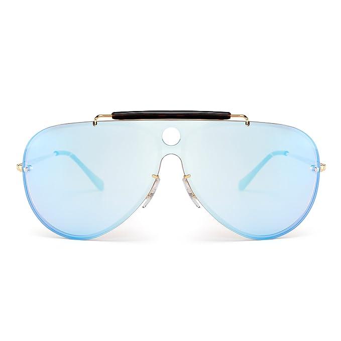 Gafas de Sol Aviador Sin Marco de Espejo Plano Top Una Pieza Metal Anteojos Hombre Mujer