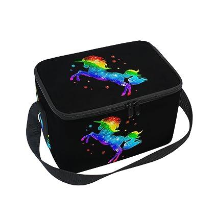 DOSHINE Bolsa de almuerzo con diseño de unicornio arcoíris y ...