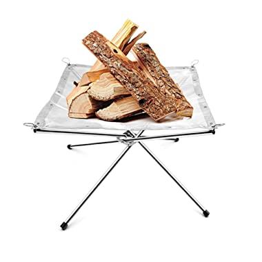 Portable Stainless Steel Mesh Outdoor Camping Fire Pit Wood holder and Rack Fire Ring with a Free Carry Bag