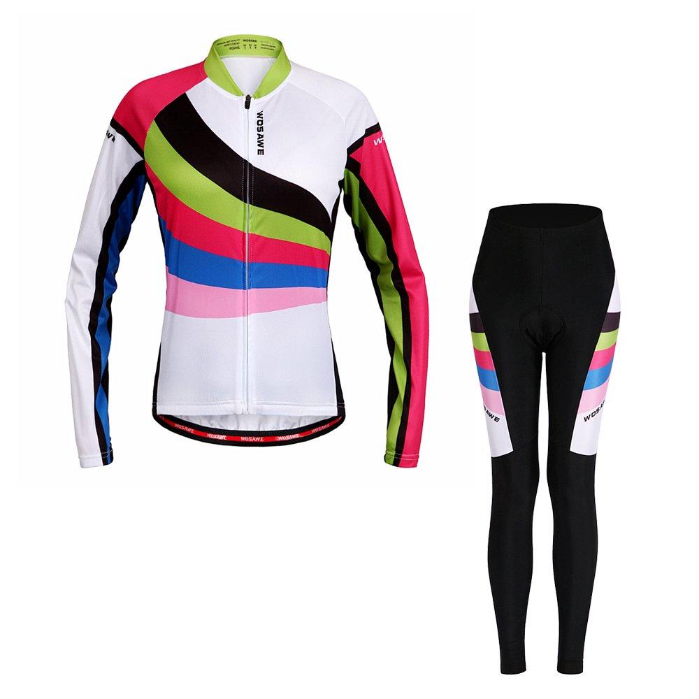 YIOY Frauen Radtrikot Set Sommer Frühling Langarm Bike Kleidung 3D Atmungsaktive Gel Pad Fahrradbekleidung