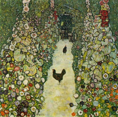 "Garden Path with Chickens  by Gustav Klimt  20/""x20/"" Canvas Art Print"