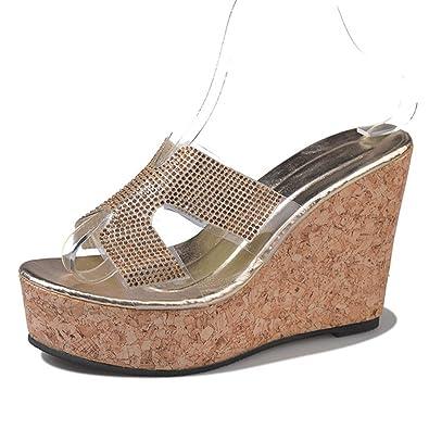 a6e09e540b2f GIY Women s Open Toe Slide Sandals High Heel Wedges Slippers Thick Bottom  Heel Platform Sandals Gold