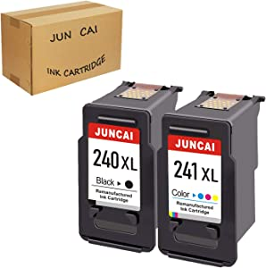 Refilled Ink Cartridge Replacement for Canon PG 240XL 240 XL CL 241XL 241 XL Used for Canon PIXMAMG3620 MX472 MX452 MG3220 MG3520 MG2220 MX392 MX522 MG2120 (1 Black, 1 Tri Color) by JUNCAI