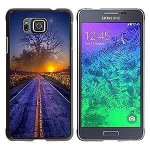 Eason Shop / Hard Slim Snap-On Case Cover Shell - Magical World Sunset Tree Art Road Mist Dawn - For Samsung GALAXY ALPHA G850