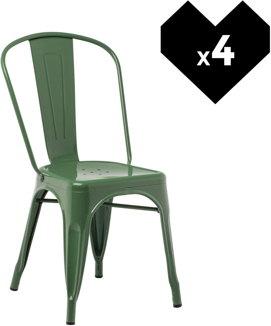 SKLUM Pack 4 Sillas LIX Verde Col Estilo Industrial Acabado ...