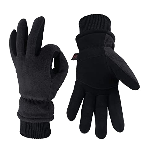 a42ff1d73 OZERO Winter Gloves with Windproof Deerskin Suede Leather and Insulated  Polar Fleece Warm for Women and