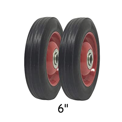 "2 Pack - Solid Rubber Flat Free Tire 6"" x 1.5"" Hand Truck Wheel - 1.25"" Offset Hub – 5/8"" Axle - 350 lbs Capacity: Office Products"