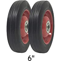"""2 Pack - Solid Rubber Flat Free Tire 6"""" x 1.5"""" Hand Truck Wheel - 1.25"""" Offset Hub – 5/8"""" Axle - 350 lbs Capacity"""