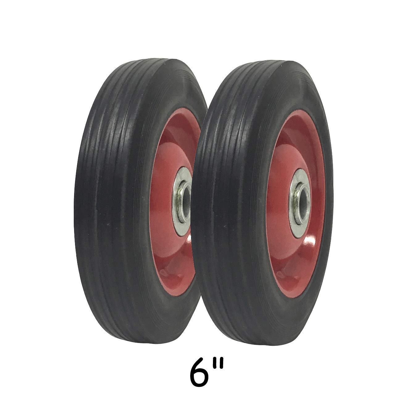 2 Pack - Solid Rubber Flat Free Tire 6'' x 1.5'' Hand Truck Wheel - 1.25'' Offset Hub - 5/8'' Axle - 350 lbs Capacity