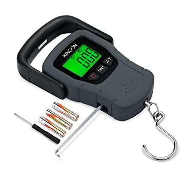 Báscula de gancho digital portátil con pantalla LCD retroiluminada y cinta métrica, 50 kg, 3 pilas AAA incluidas.: Amazon.es: Hogar