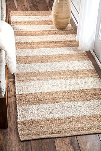 Jute and Denim Even Stripes Bleached Runner Area Rugs, 2 Feet 6 Inches by 8 Feet (2' 6